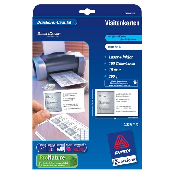 Lama plus authorised distributor of consumables computer avery zweckform business cards white matt a4 200 gm2 85x54mm 10 sheets for laser and inkjet printers o reheart Image collections